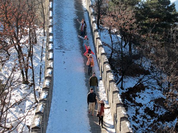 Die Große Mauer in Mutianyu im Winter